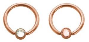 Rosegold Steel - Klemmring - Flat Ball Kristall 10 mm 4 mm LH- Pfirsich