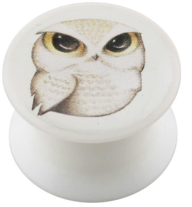 Acryl - Design Plug - weiss - Eule