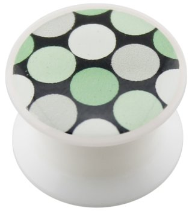 Acryl - Design Plug - weiss - Punkte