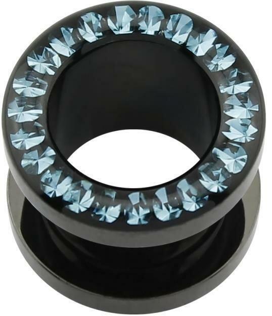 Acryl - Flesh Tunnel - schwarz - Aqua Marine (AQ) - Epoxy