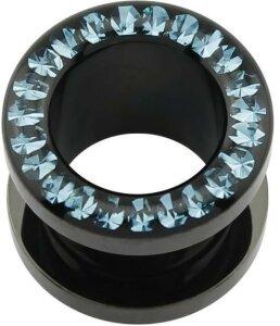 Acrylic - Flesh Tunnel - Black - Aqua Marine (AQ) - Epoxy