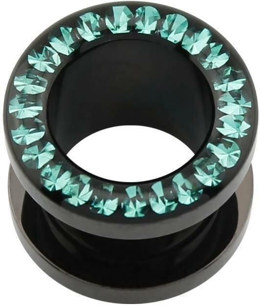 Acryl - Flesh Tunnel - schwarz - Blue Zircon (BZ) - Epoxy