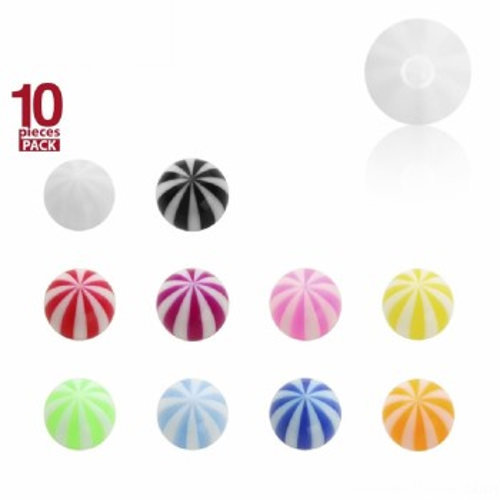 Acryl - Schraubkugel - Beachball Design - 10er Pack