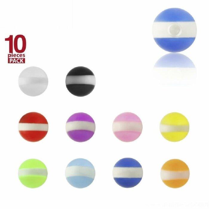 Acryl - Schraubkugel - weiße Streifen - 10er Pack