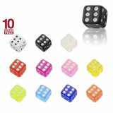 Acrylic - dice with thread - 10pcs pack