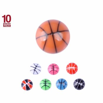 Acryl - Schraubkugel - Basketball Design - 10er Pack
