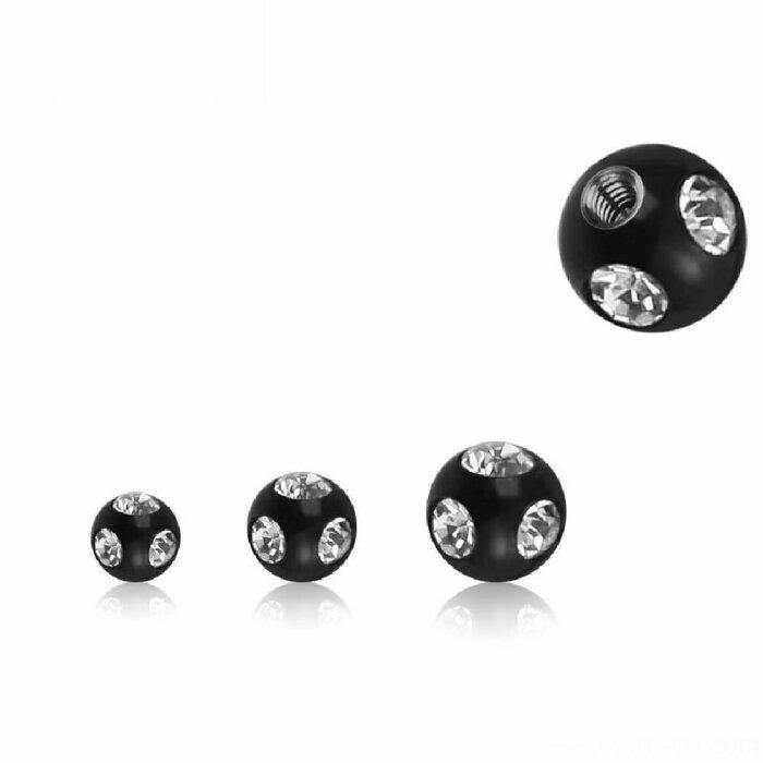 Black Steel - Schraubkugel - mit klarem Kristall