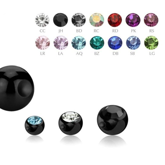 Black Steel - Klemmkugel - mit Kristall