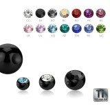 Black Titanium - Clip-in ball - with crystal