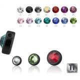 Black Titanium - Clip-in flatball - with crystal