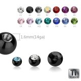 Black Titanium - Screw ball - with crystal