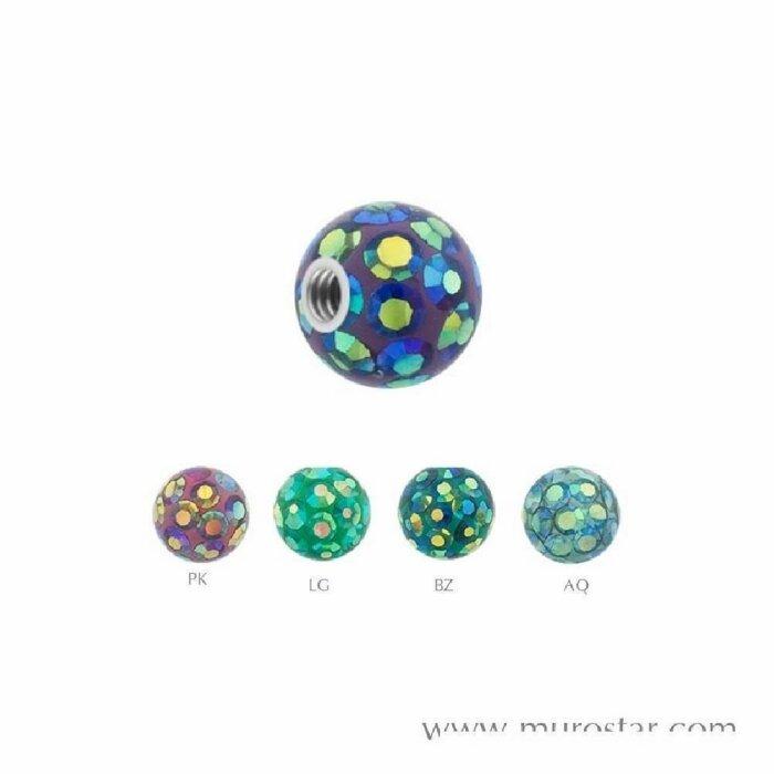 Epoxy - Schraubkugel - Kristall - zweifarbig
