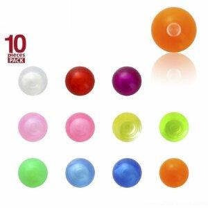 1,6 mm - 5 mm - T-PP - Transparent Purple / Lila - Acryl - Schraubkugel - Transparent - 10er Pack