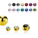 Gold Steel - Clip-in ball - crystal