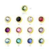 Gold Steel - Clip-in flatball - crystal