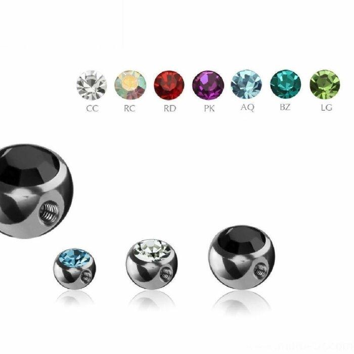 Stahl - Schraubkugel - Kristall - 90° Gewinde - 1,6mm