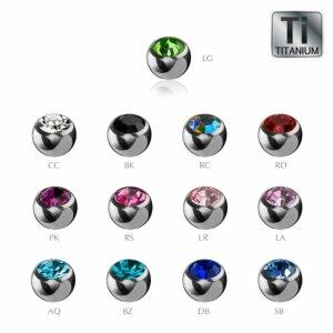Titanium - Clip-in ball - crystal