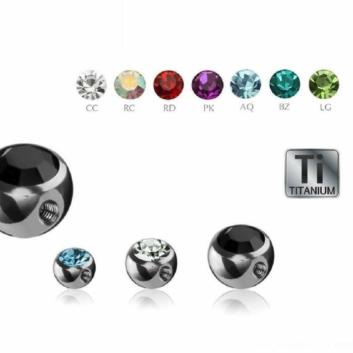 Titan - Schraubkugel - Kristall - 90° Gewinde