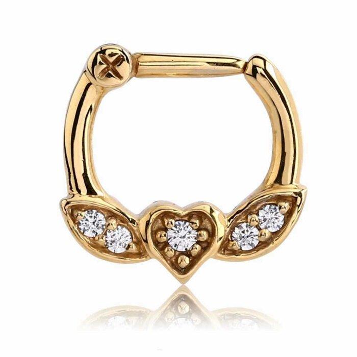 Gold Steel - Septum Clicker - Herz Design