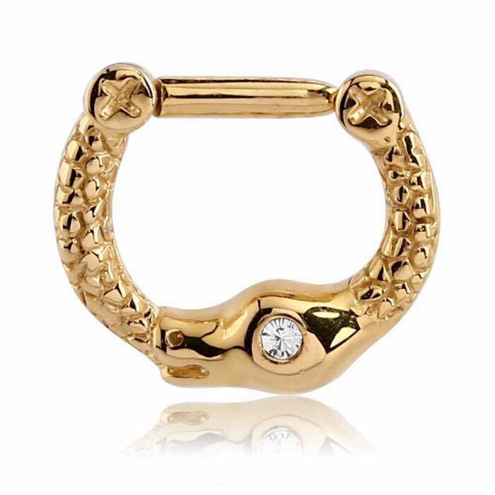 Gold Steel - Septum Clicker - Schlangen Design