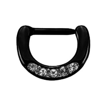 Black Steel - Septum Clicker - kleine Kristalle