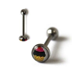 Steel - tongue barbell  - 1,6 mm - cupcake