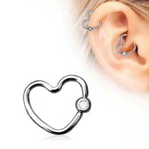 Steel - Ear Stud - Heart - Crystal - BCR