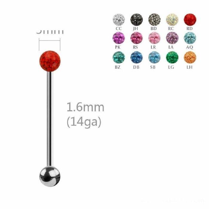 Stahl - Zungenbarbell - Epoxy Design - 1,6 mm