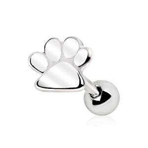 Steel - Ear Stud - Puppy Paw