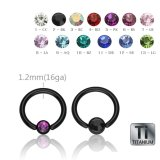 Black Titanium - BCR ball closure ring - crystal - 1,2 mm