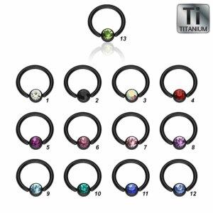 Black Titanium - BCR ball closure ring - crystal - 1,6 mm
