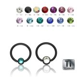 Black Titanium - BCR ball closure ring with Flatball -...