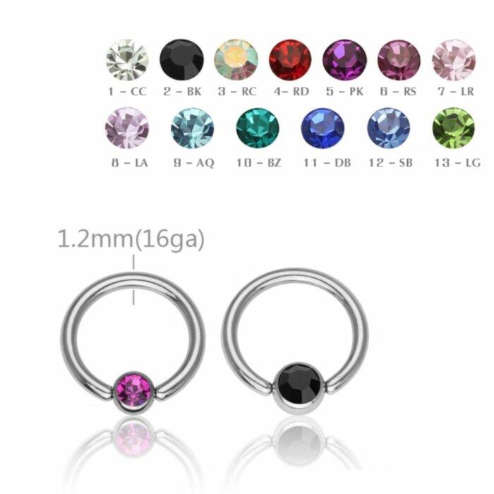 Stahl - BCR Klemmring - Kristall - 1,2 mm