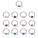 Steel - BCR ball closure ring - crystal - 1,2 mm