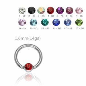 Stahl - BCR Klemmring - Kristall - 1,6 mm