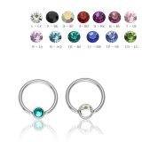 Steel - BCR ball closure ring with Flatball - crystal -...