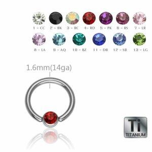 Ti Gloss Titan - BCR Klemmring - Kristall - 1,6 mm