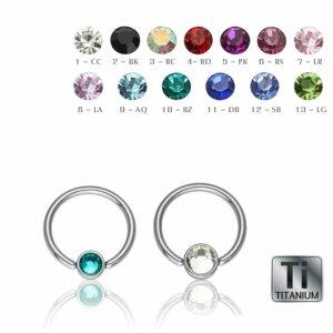Ti Gloss Titan - BCR Klemmring - Klemm-Flat Ball - Kristall - 1,2 mm