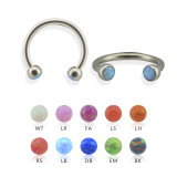 Steel - Circular Barbell - Opal setted
