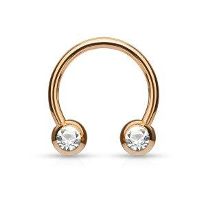 Rosegold Steel - Circular Barbell - Crystal