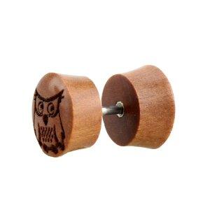 Holz - Fake Plug - Eule