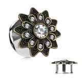 Stahl - Tunnel - Sonnenblume - Double Flared - Kristall 6 mm
