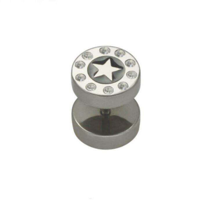 Stahl - Fake Plug - Stern - Kristall