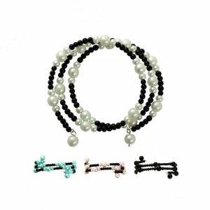 Perlenarmband - 3-reihig - zweifarbig