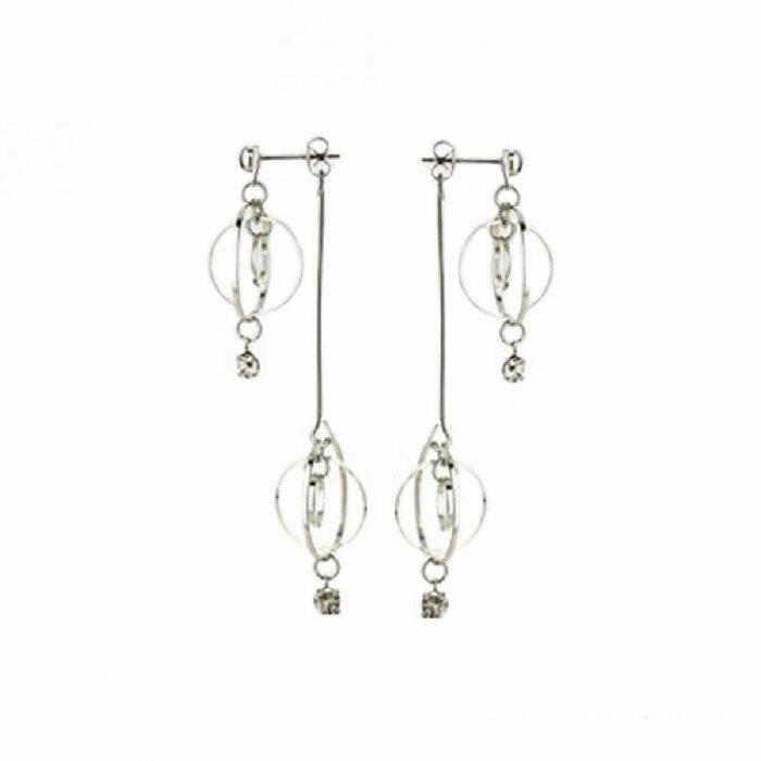 Edelstahl - Ohrring - Kristall - Doppel