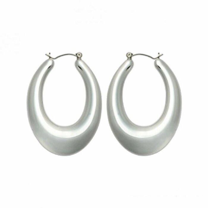 Edelstahl - Ohrring - Silber - Tropfenform bauchig