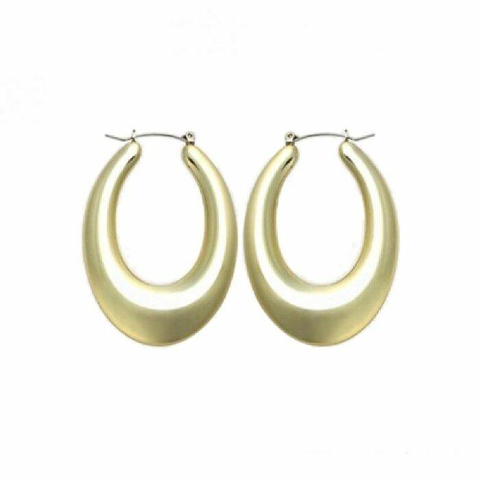 Edelstahl - Ohrring - Gold - Tropfenform bauchig