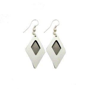 Stainless Steel - Ear pendant - caro - crystal - Black-white