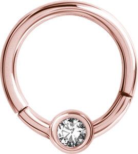 Rosegold Steel - BCR Klemmring - Klick Verschluss - Kristall
