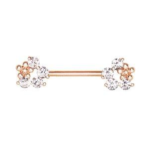Rosegold Steel - Nipple Bar - Blume Kristall